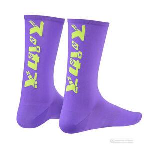 Supacaz SupaSox KATAKANA Tall Cycling Socks NEON PURPLE/NEON YELLOW One Pair