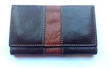 Tobacco Pouch Leather Effect Fully Lined Brown Wrap Around with Booklet Holder