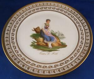 Antique 19thC French Feuillet Paris Porcelain Scenic Plate Porcelaine Assiette