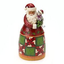 Jim Shore Christmas Cheer is Here Santa Figurine w/Cat ~ 4017653