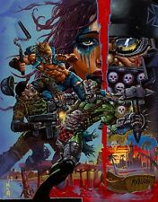 SIMON BISLEY 2009 AVALON ORIGINAL ART PAINTING INSANE ACTION FILLED ACRYLIC !!