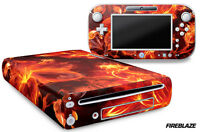 Skin Decal Wrap for Nintendo Wii U Gaming Console & Controller Sticker FIREBLAZE