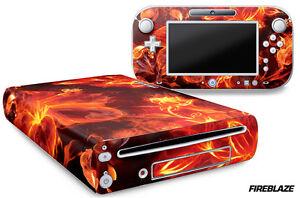 Skin Decal Wrap for Nintendo Wii U Gaming Console & Controller Sticker FIREBLAZE