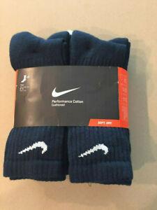 Nike Performance Cotton Cushioned Crew Socks Black/White 6 Pairs Size Large 8-12