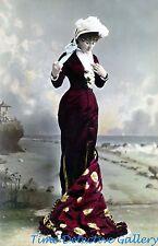 Edwardian Lady in a Lovely Burgandy Dress  - Historic Photo Print