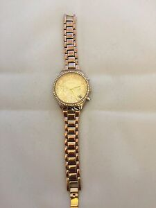Monsoon Ladies Gold Tone Chrono Effect Crystal Bezel Bracelet Strap Watch MO4000