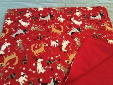 Handmade flannel pet blanket, playful dogs!