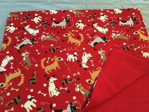 Handmade flannel pet blanket, playful dogs!