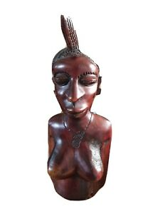 Hand carved wooden ethnic figure large