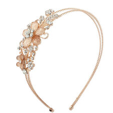 Lux Accessories Rose Gold Tone Floral Stone Bridal Flower Girl Wire Headband