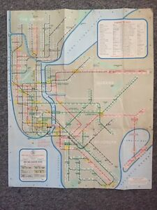Vintage 1963 NYC subway transit map NEW YORK SUBWAY USA