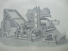 ANTIQUE PRINT C1870'S PRINTING ENGRAVING THE WALTER MACHINE INDUSTRIAL PRESS ART