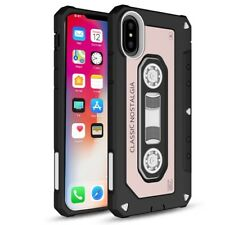 For iPhone X / 10 - Rose Gold Classic Black Cassette Hybrid Protector Case Cover