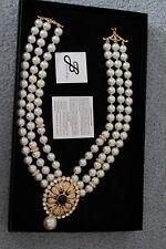 """Joan Boyce  Pearl & Rhinestone Multi Strand 18"""" Necklace NIB"""