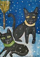 Black Cat Haunted Snow Magic Broom ACEO Folk Art Print 2.5 x 3.5 by Artist KSams