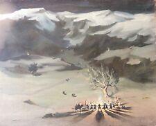 Art Juif Erev Yom Kippour Russe grande huile sur toile signature illisible ?