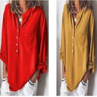 Solid Women's Ladies Tops Shirt Fashion Loose Long Sleeve Casual T-shirt Blouse