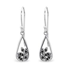925 Sterling Silver Leaves with Black Spinel Cubic Zirconia Drop/Dangle Earrings