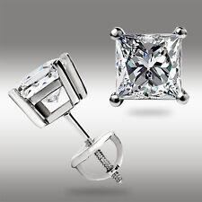 1.50 Ct PRINCESS CUT DIAMOND SOLID 14K WHITE GOLD STUD EARRINGS w/SCREWBACK DEAL