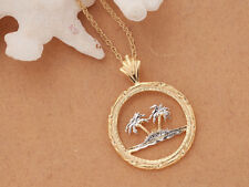 "Palm Tree Pendant and Necklace, Hand Cut Palm Tree Coin, 1"" in Diam.( # 884 )"