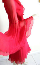 Red Hot Silk Dress w. Ruffels by EXPRESS,Huge Butterfly Sleeves, 5/6