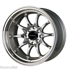 "Ultralite UL48 15"" x 9J ET0 4x100 4x108 Deep Dish Argent Lip alloy wheels Y2958"