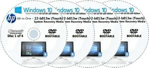 HP All-in-One 22-b013w (Touch) Factory Recovery Media 4-Discs Set Win 10 64bit