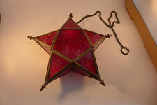 Vintage Brass and Red Colored Glass Star Candle Holder Tealight Hanging Lantern