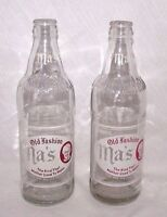 Ma's Old Fashion Bottle Clear Glass ACL Beverage Vtg Soda 12 oz Lot 2 1944 PA