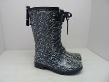 "Windriver Women's 10"" Oakridge Mid-Cut Rubber Boots Blue/White Size 6M"