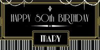 PERSONALISED GREAT GATSBY ART DECO BIRTHDAY BANNER BLACK AND GOLD PARTY ANY AGE