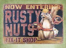 Rusty Nuts Fix-it Shop rustic man cave tin sign garden reproductions