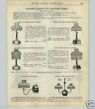 1924 PAPER AD 2 Sided Coleman Quick Lite Gas Gasoline Lamp Lantern Parts Repair