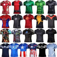Uomo Marvel Supereroe CONTENITIVE T-shirt palestra sport aderente manica corta
