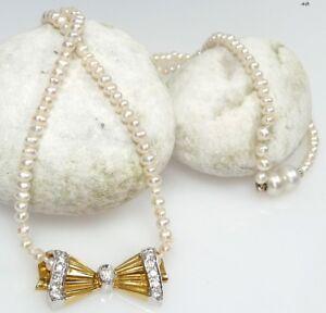 Kette Halskette Perlenkette Collier Brillant Diamant - 750 Gold Gelbgold - 048