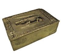 Krokodil Gelbguss Akan Ashanti Afrika Bronze Figur Bronzefigur Goldstaubdose Box