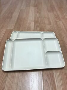 2 Vintage Tupperware Divided Tray Plate Lunch Dinner Picnic Camping