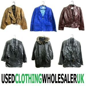 10 VINTAGE REAL LEATHER SUEDE JACKETS COATS WHOLESALE WOMEN'S CLOTHING JOB LOT