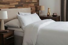 100% Brushed Cotton Plain Flannelette Double Size Duvet Cover Set in White