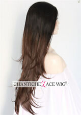 Ombre Lace Front Wigs Dark Brown Synthetic Hair Natural Straight Heat Resistant