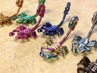 Titanium Scorpion Belly Ring Navel Naval Black,Light Blue,Pink,Purple,Rainbow