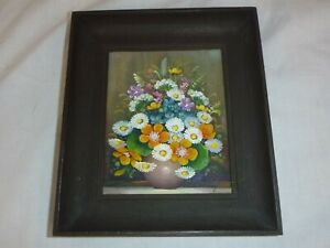 """Vtg Miniature Original Floral Painting On Board Framed  7"""" x 8"""" Signed"""