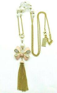 "Brighton My London Flat Goldtone Pink Enamel Rhinestone Bow, Tassel Necklace 30"""