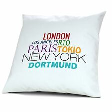 "Kopfkissen Dortmund, Kissen mit Füllung, Motiv ""Famous Cities of the World"""