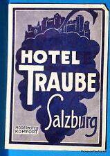 HOTEL TRAUBE SALZBURG     Original  luggage label  BD88