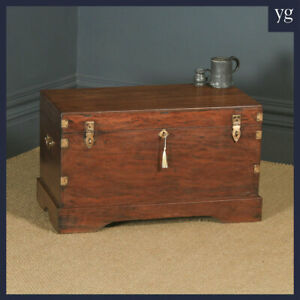 Antique Victorian Anglo Indian Colonial Campaign Teak & Brass Chest / Trunk