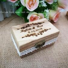 Wooden Wedding Ring Bearer Box Personalized Holder Customized Names Date Engrave