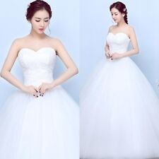 New White/Ivory Lace A-Line Wedding Dresses Bridal Ball Gown Long Dress