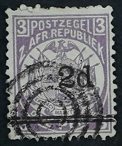 c. 1887 South African Republic 2d on 3d purple Coat of Arms stamp 4 ringed cds