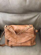 HYPE Tan Studded Front Leather Hobo Shoulder Bag Handbag Purse With Multi-Pocket